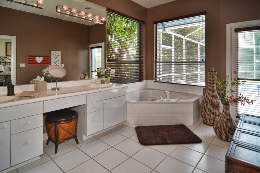 Master Tub and Twin Vanities